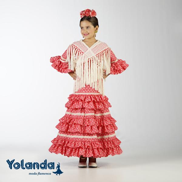 Traje Flamenca Niña Grosella - Yolanda Moda Flamenca