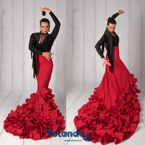 Falda Cola Baile Bulerias - Yolanda Moda Flamenca